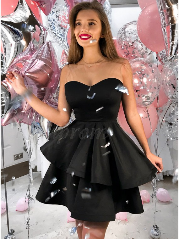A-Line Sweetheart Short Black Tiered Satin Homecoming Dress