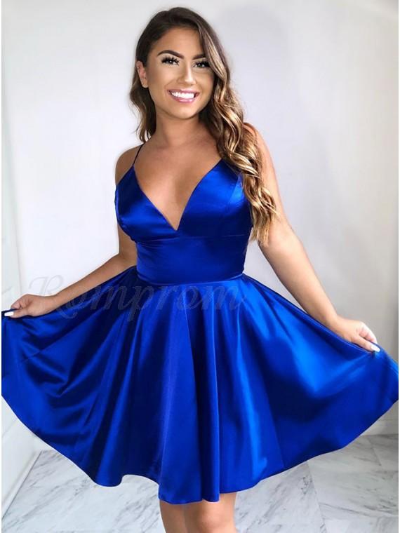 A-Line Spaghetti Straps Above-Knee Royal Blue Satin Homecoming Dress