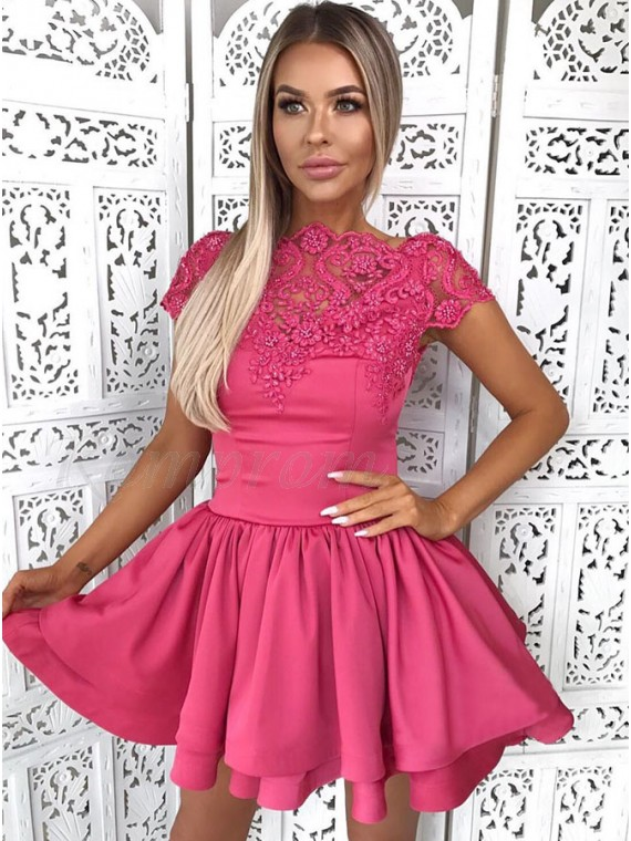 1336e960a0f6 A-Line Bateau Short Tiered Fuchsia Homecoming Dress with Appliques ...