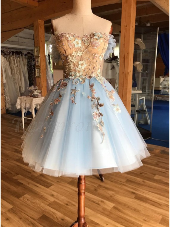 A-Line Off-the-Shoulder Above-Knee Light Blue Homecoming Prom Dress with Appliques