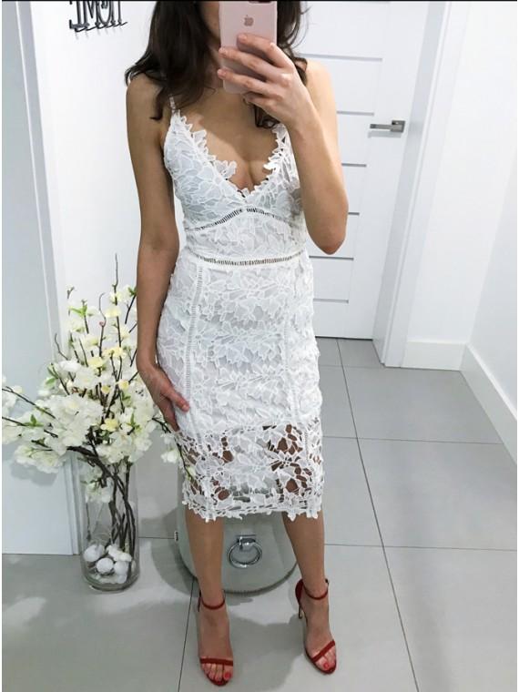 Sheath Spaghetti Straps Tea-Length White Lace Cocktail Dress