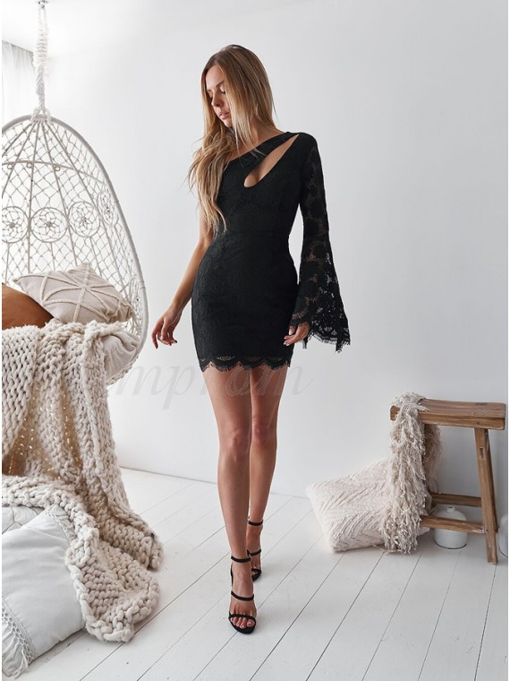 Sheath One Shoulder Bell Sleeves Short Black Lace Homecoming Party Dress