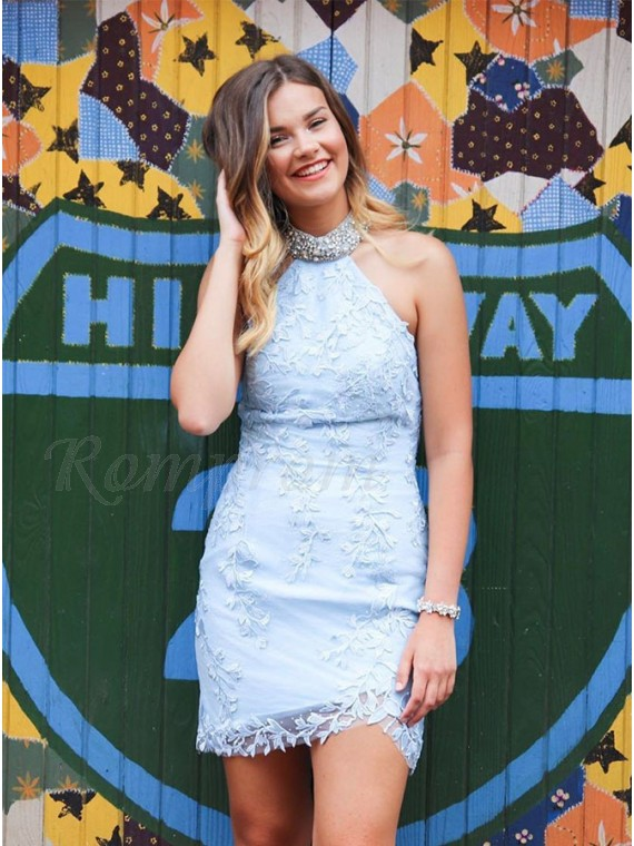 Halter Short Lace Light Blue Homecoming Dress with Appliques Beading