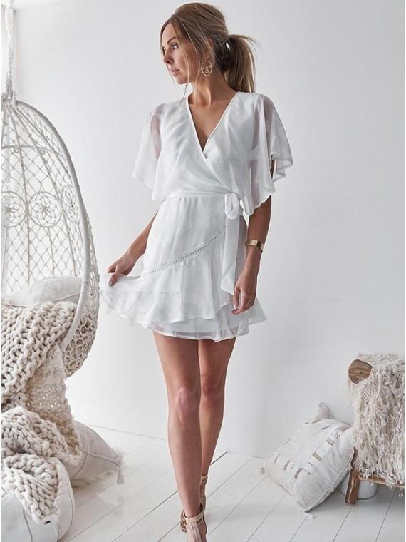Short Chiffon White Party Casual Dress