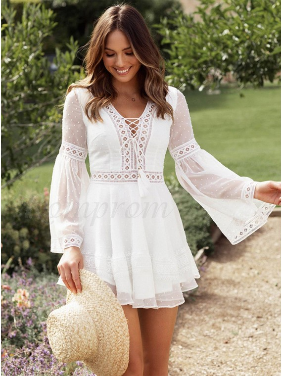 Bohemian White Bell Sleeves Short Dress