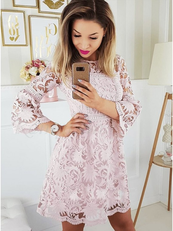 A-Line Crew Bell Sleeves Above-Knee Pink Lace Homecoming Dress