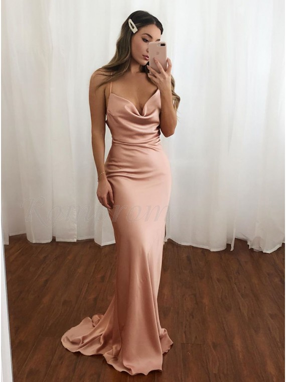 Simple Blush Long Prom Dress Mermaid Formal Dress