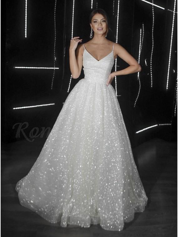 A-Line V-Neck Sleeveless Zipper-up Sequins Wedding Dress with Sweep Train