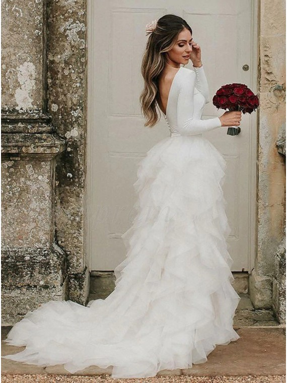 Princess A-Line Jewel Tiered Backless Wedding Dress with Sleeves