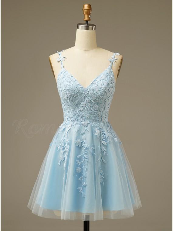 A-line Short Light Blue Homecoming Dress