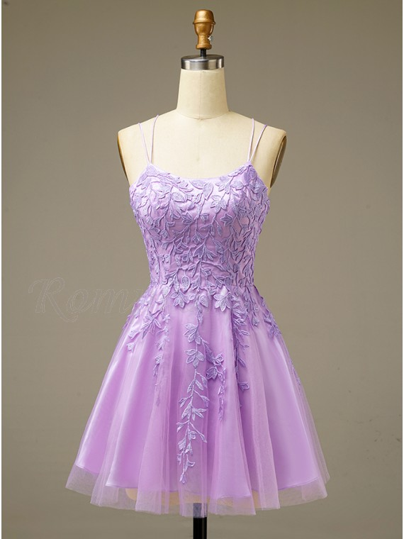 A-line Lilac Homecoming Dress Lace-up Short Party Dress