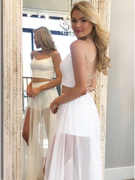 Chic Two Piece Spaghetti Straps White Homecoming Jumpsuit