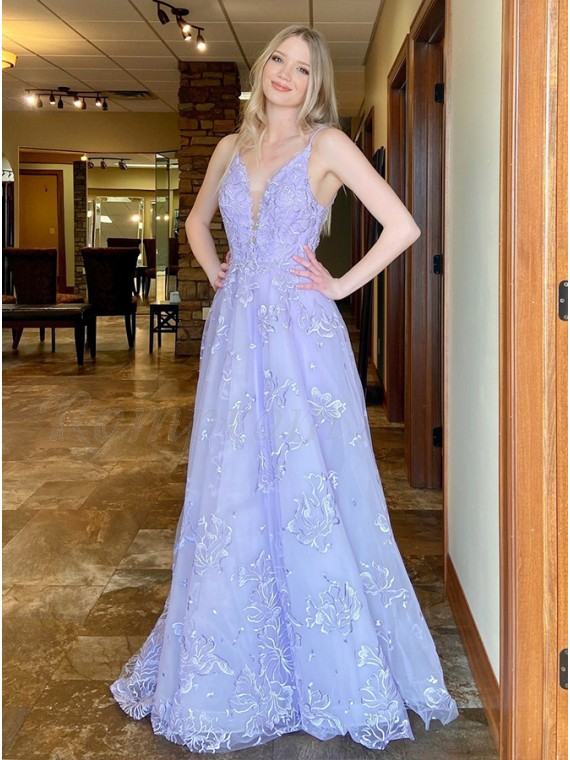 Satin Satin Lavender Prom Dress