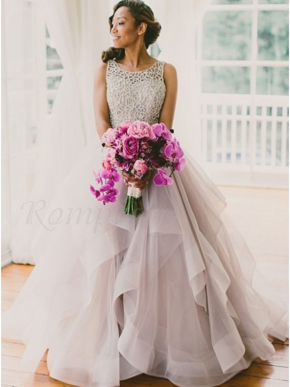 A-line Round Court Train Organza Lace Light Grey Open Back Wedding Dress