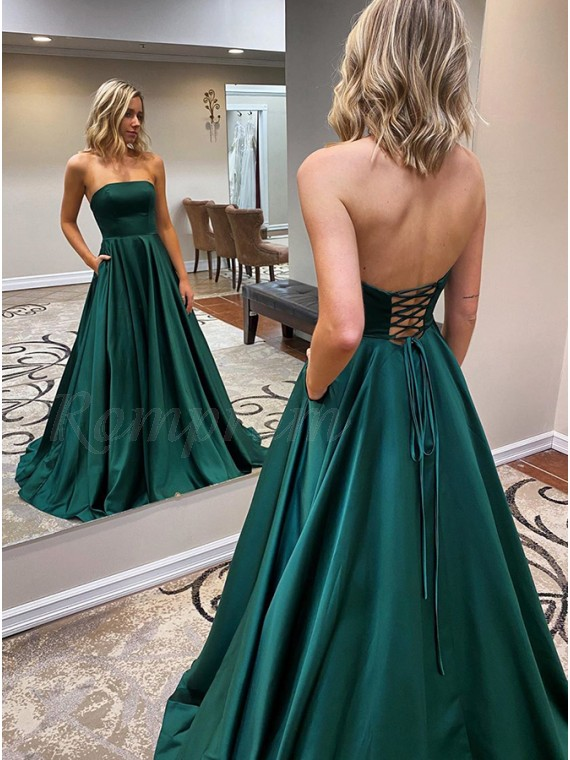 Long Strapless Dark Green Prom Dress with Pockets