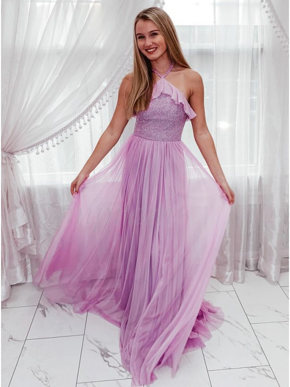 Chiffon Pink Long Prom Dress