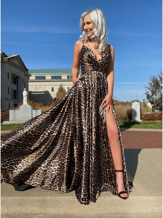 Long  Animal Print Leopard Prom Dress with Slit Pockets