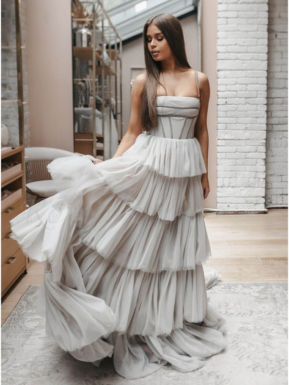Long Light Grey Prom Dress with Tiered Unique Wedding Dress