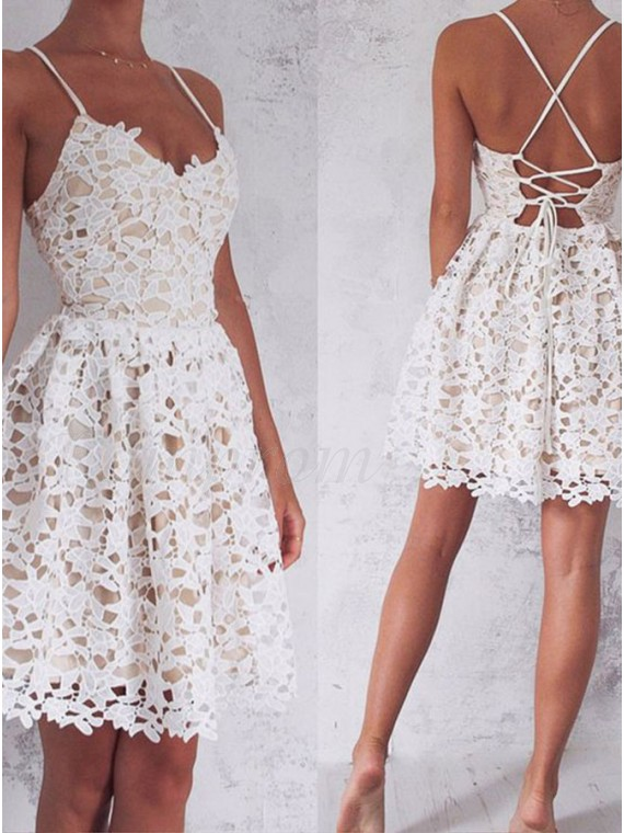 80347faed59b A-Line Spaghetti Straps Lace-Up White Lace Short Homecoming Dress ...