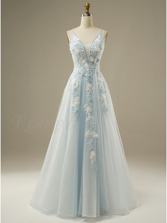 A-Line Long Tulle Light Blue Prom Dress