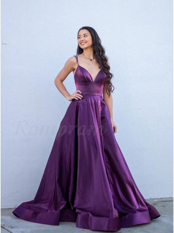 Purple A-Line Long Prom Dress