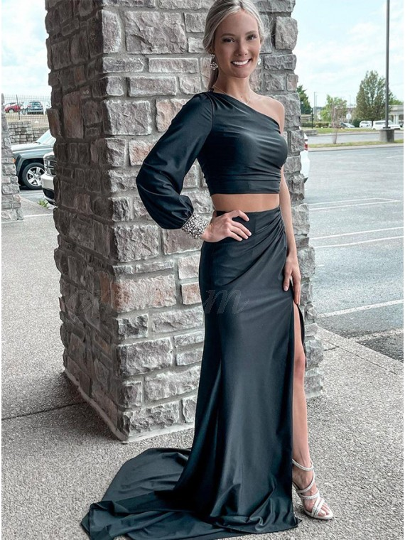 Two Piece Black Long Prom Dress