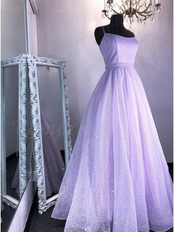 A-Line Long Lilac Glitter Prom Dress