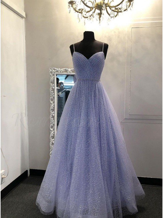 Long Glitter Lavender Sweetheart Prom Dress