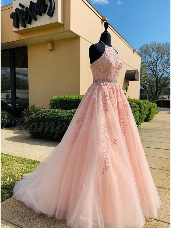 Appliques Long Pink Prom Dress