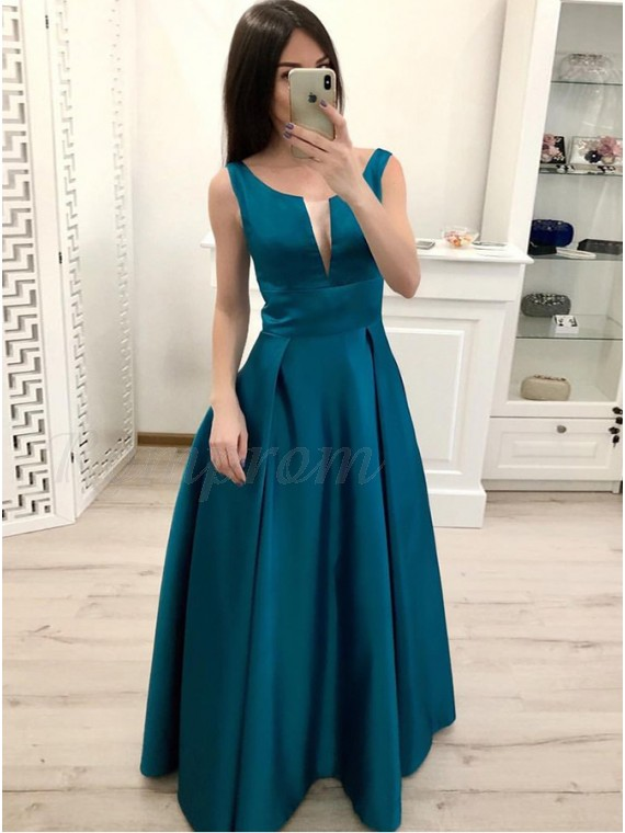Turquoise Long Prom Dress Satin Sleeveless Simple Party Dress