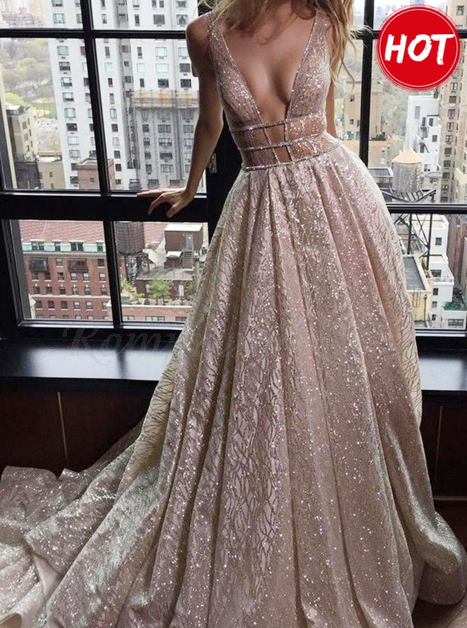 4594d6a6485 A-Line Deep V-Neck Court Train Backless Prom Dress with Sequins