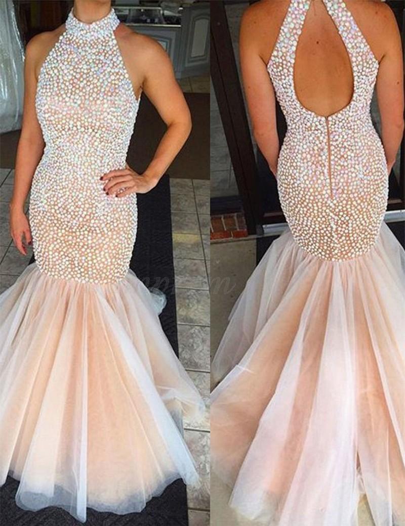 mermaid high neck sleeveless open back long pink prom