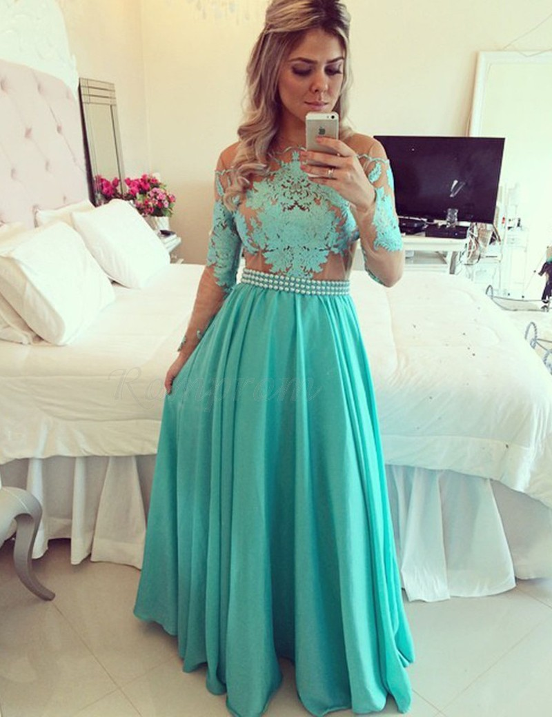 Charming Turquoise Crew Neck Long Sleeves Illusion Back