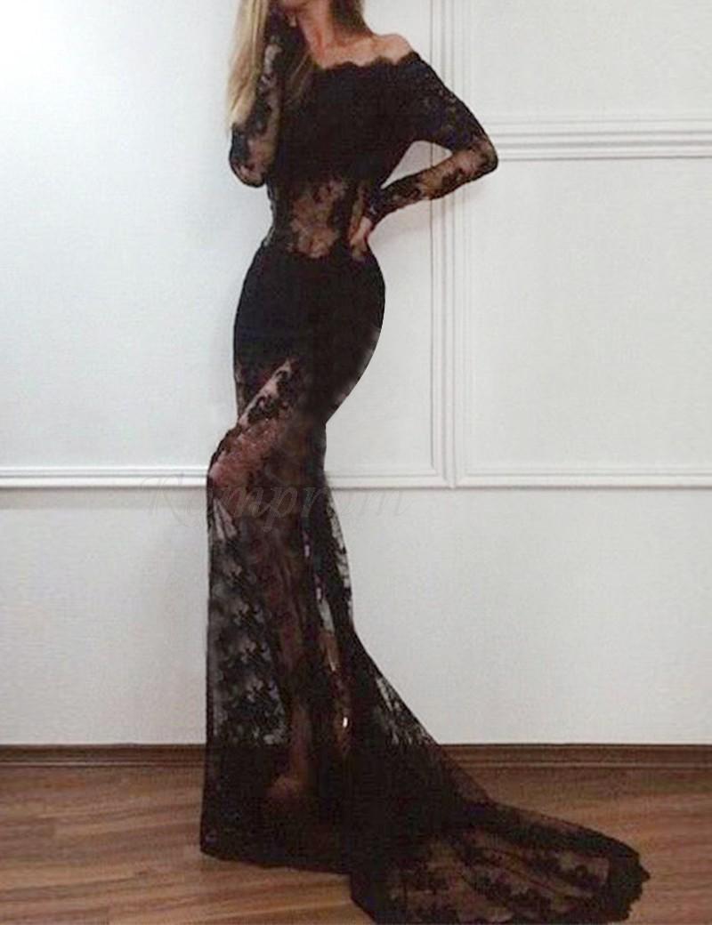 6f4801a55fb9 Black Mermaid Prom Dress Off The Shoulder - raveitsafe