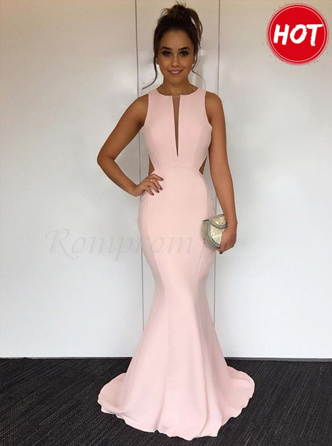 c3929ccd7fc Mermaid Round Sweep Train Open Back Gorgeous Pearl Pink Prom ...
