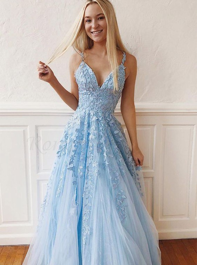 Light Blue Prom Dress With Appliques Sleeveless Long Prom Gown 0 00 Only Romprom Com