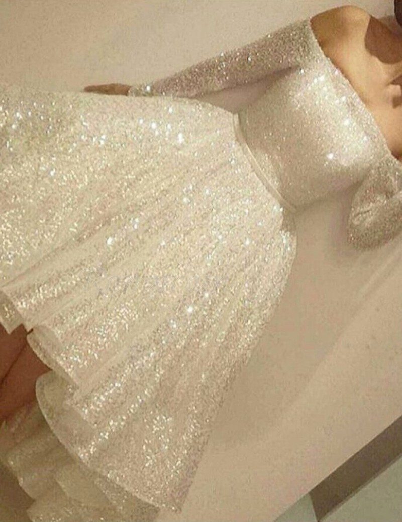 da8a36fc High Low Off the Shoulder Long Sleeves Ivory Prom Dress