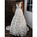 A-Line Spaghetti Straps Backless Sweep Train White Wedding Dress with Lace Appliques