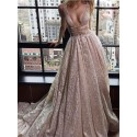 A-Line Deep V-Neck Long Backless Champagne Prom Dress with Sequin