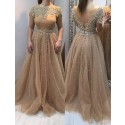 A-line Off-the-shoulder Sweep Train Brown Prom Dress with Beading