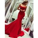 Mermaid Sweetheart Sleeveless Sweep Train Sexy Red Prom Dress