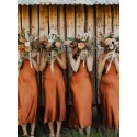 Simple Spaghetti Straps Rust Color Boho Bridesmaid Dress