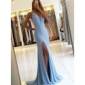 Mermaid Deep V-Neck Backless Slit Leg Sexy Light Blue Prom Dress