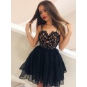 A-Line Straps Short Black Chiffon Homecoming Dress with Lace Pleats