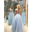 A-Line V-Neck Floor-Length Light Blue Prom Dress with Sequins Beading