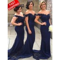 Mermaid Off the Shoulder Long Navy Blue Bridesmaid Dress with Lace
