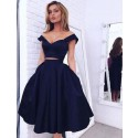 A-Line Off-the-Shoulder Mid-Calf Open Back Navy Blue Prom Dress with Pleats