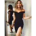Bodycon Off-the-Shoulder Split-Side Black Homecoming Dress