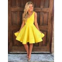 A-Line V-Neck Sleeveless Short Yellow Satin Homecoming Dress