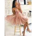 A-Line V-Neck Above-Knee Blush Homecoming Dress with Pleats